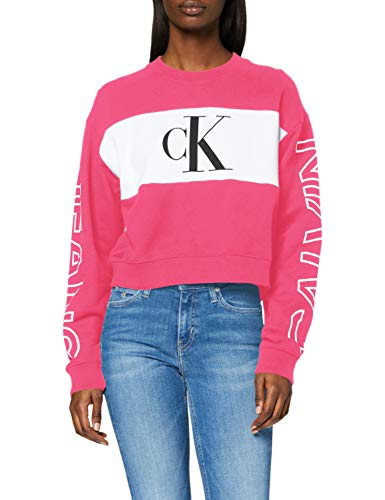 Preisvergleich Produktbild Calvin Klein Jeans Damen Blocking Satement Logo Crew Neck Pullover,  Himbeersorbet / CK Schwarz,  M