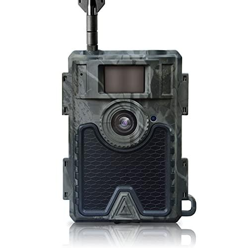 Wildkamera, Jagdkamera, Nachtsicht Bewegungsmelder 4G LTE Wildtierkamera mit SIM Karte 0,4s Schnelle Trigger Sensor 120 °Weitwinkel Abzugsentfernung Bis 65 Feets APP Handyübertragung 24MP 1080P IP66