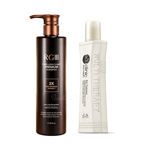 RG3 RGIII PREMIUM HAIR LOSS CLINIC SHAMPOO (ONE BOTTLE 520ml) + ECO CLINIC MULTI THERAPY LEAVE IN TREATMENT WITH ARGAN OIL (160ml) - Hair Regrowth, Natural Ingredients, Red Ginseng, All Hair Type