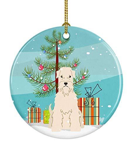 Caroline's Treasures Merry Christmas Tree Soft Coated Wheaten Terrier Ceramic Ornament, Multicolor