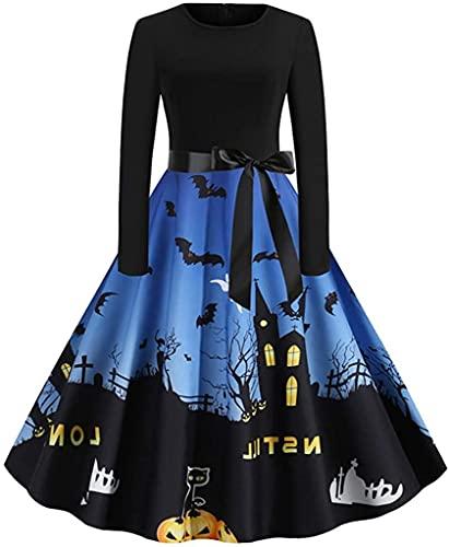 Disfraz de Halloween para fiesta de calabaza, disfraz de bruja de vampiro murcilago araa crneo, Azul oscuro, Small