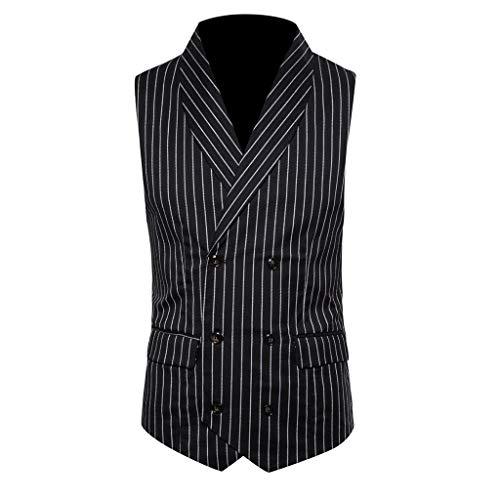 LUCKYCAT Neuer Männer Formale Tweed Check Zweireiher Weste Retro Slim Fit Anzugjacke Mode 2018