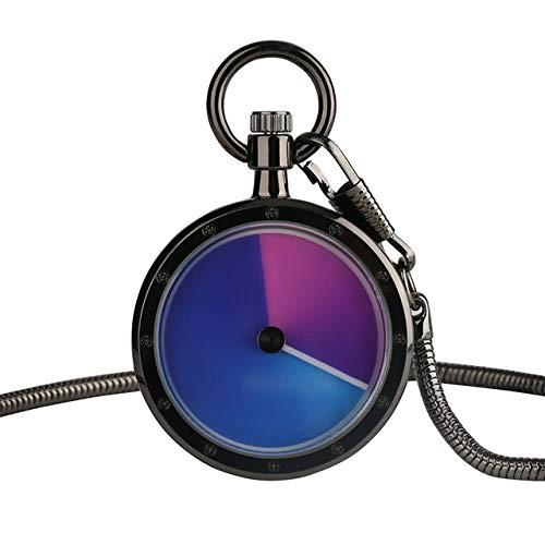 YHWW Taschenuhr 8 Arten Farbverlauf Konzept Männer Frauen Taschenuhr Blue Swirl Pointer Quarz Geek Männliche Stundenuhr Schlangenkette Plattenspieler Uhr, 5