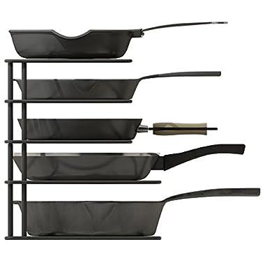 ZESPROKA Kitchen Cabinet Pot and Pan Organizer, Pot Lid Rack, Black