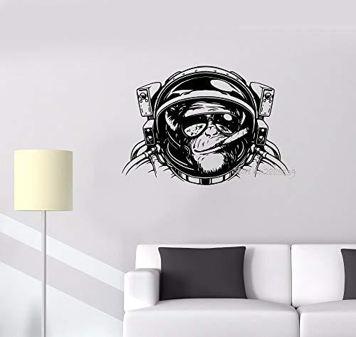 xinyouzhihi Wandaufkleber AFFE Astronaut Weltraum Helm Tauchen Decor Vinyl Abnehmbare Wandtattoo Wohnzimmer Coole Wand Tat78X56CM