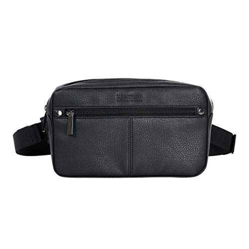 Kenneth Cole Reaction Lightweight Faux Leather Collection, Black Waist Pack, One Size