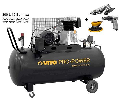 VITO Professional 300 Liter Kompressor SET 4PS 10 bis 15 bar max 3000W Druckluftkompressor mit Ölschmierung 400L/Min - 300L Kompressor