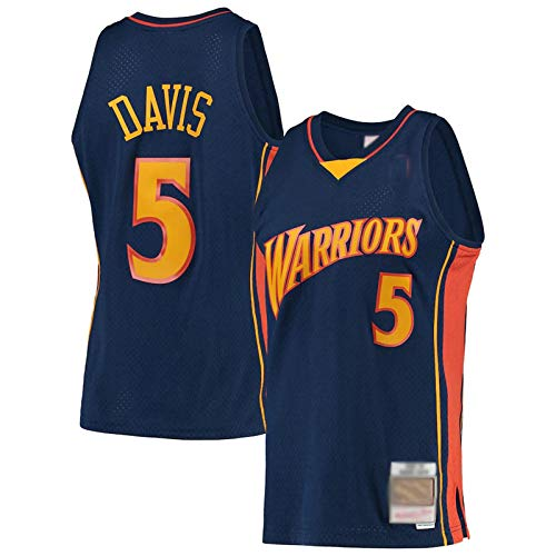 Hombres Baloncesto Warrior Diario Deportes Manga Corta Davis Chaleco Jersey NO.5 Azul marino, azul marino, XL