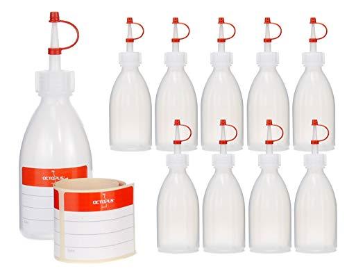 10 botellas de plástico LDPE de 100 ml botella exprimible botella de laboratorio botella de plástico de adorno botella de spray con punta dosificadora para la cocina, el laboratorio o el hobby