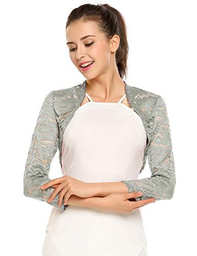 Zeagoo Women's Floral Lace Shrug Dress Jacket Sheer Bolero Cardigan Light Grey XXL