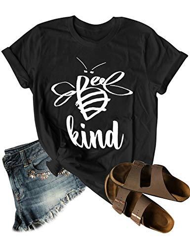 Dresswel Be Kind Tshirt Women Short Sleeve T-Shirt Bee Graphic Tee Casual Tops Black