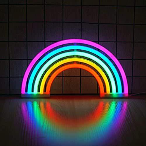 ABTSICA Luz De Neón Arcoíris, Regalo para Niños Señales De Arcoíris LED Lámpara De Arcoíris Decoración De Pared Luz De Noche Batería O USB para Habitación De Niños Fiesta De Navidad,5 Colors Rainbow