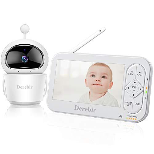 """Vigilabebés con Cámara Bebé Monitor Inalámbrico Video 720P HD 5""""Pantalla LCD,Remoto Pan-Tilt-Zoom/Visión Nocturna/Sensor de Temperatura/Modo de Dormir/Comunicación Bidireccional/Blanco"""