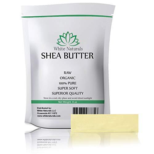 Raw Shea Butter 8 oz By White Naturals - Unrefined, 100% Pure, Premium Grade, Great As Skin Moisturizer, Lip Balms, Stretch Marks, Acne, Recover Sun Damage, Kids Cream & More!
