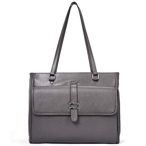Handtasche Damen Weich Echtleder Designer Laptoptaschen Groß Tote Henkeltasche für Frauen grau