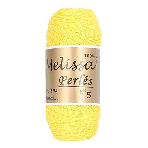 Melissa Perlés 5 - Hilo de Algodón para Ganchillo Hilado 100% Algodón para DIY y Tejer a Mano, Amarillo 19, (75 g * 1 unidad)