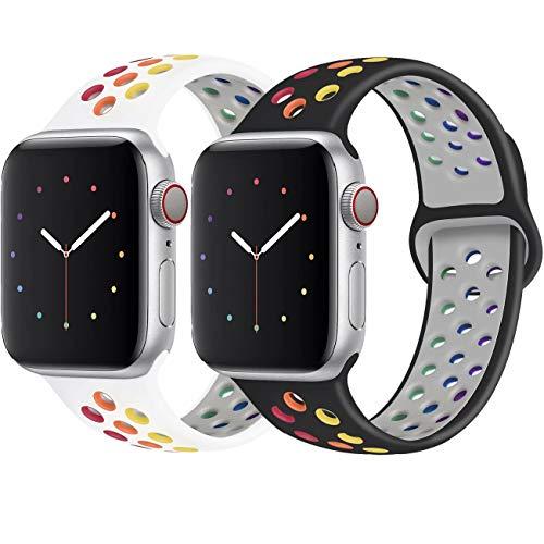 INZAKI Kompatibel mit Apple Watch Armband 38mm 40mm,weich atmungsaktives Silikon Sport Ersatzband für Armband für iWatch Serie 5/4/3/2/1,Nike+,Sport,wasserdicht,M/L,W-Pride/B-Pride