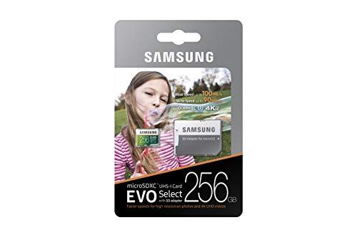 Samsung MB-ME256GA/EU EVO Select 256 GB microSDXC UHS-I U3 Speicherkarte inkl. SD-Adapter Weiß/Grun
