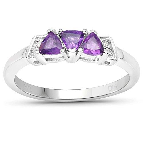 The Diamond and Wedding Ring Bargain Centre Mujer Plata fina 925 plata de ley corazón Amethyst