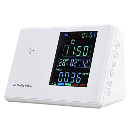 siwetg Monitor de calidad del aire PM2.5 CO2 HCHO TVOC CO2 AQI Detector Analizador de gas con reloj TVOC Formaldehído PM partícula CO2 Temperatura y Humedad Medidor