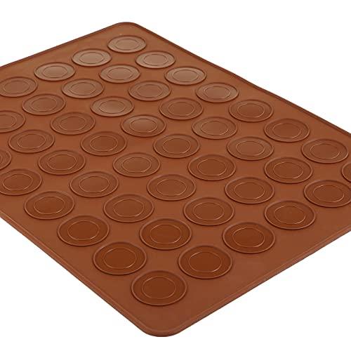 GWHOLE Tappettino Macarons 48 Capacità 5 Cm Microforato Decora In Silicone, Stampo Di Macarons Da Forno Per Dolci Biscotti Muffin Cucina Pasticceria, Antiaderente Resistente Al Colore Bruno