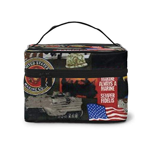 Vanity et Trousses à Maquillage United States of America Marines Military Travel Cosmetic Case Organizer Portable Artist Storage Bag with,Built-in Pocket,Multifunction Case Toiletry Bags for Women TR