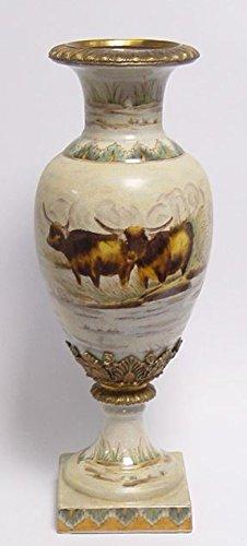 Casa Padrino Porzellan Vase auf Sockel Durchmesser 16,5 x H. 45 cm
