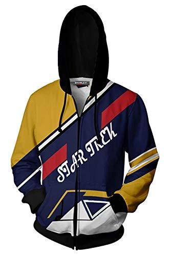 RedJade Herren Damen Kapuzenjacke Pullover mit Kapuze Reißverschluss Sweatjacke Hoodie Star Stern Trek