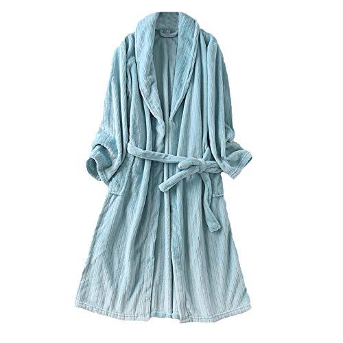 秋冬 レディース もこもこ ガウン 着る毛布 バスローブ ツルツル フランネル ストライプ あったかい 部屋着 男女兼用 おそろい ペアルック ペア L ブルー YL02B0085-BU-3