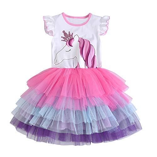 DXTON Kinder Mädchen Kleider Tüll Kleid Langarm Kleidung Sommer SH4590 5T, Weißsh4590, 4-5 Jahre