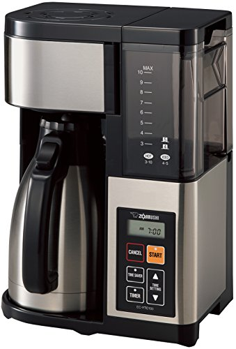 Zojirushi EC-YTC100XB Coffee Maker, 10-Cup, Stainless Steel/Black