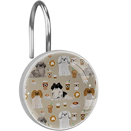 12 STÜCKE Duschvorhang Haken Ringe Dekorative rostfreie Duschhaken Duschstange Cartoon Chow Chow Dog Cappuccino für Home Badezimmer Vorhängestangen