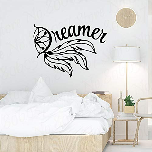 Dreamer Design Wall Painting Sticker Feather Style Wall Decal Home Dormitorio Decoración Flying Dream Catcher Art A3 57x41cm