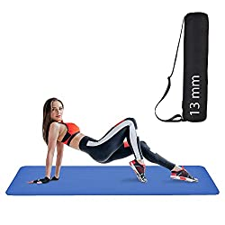 YOZO 10mm Extra Thick Yoga and Exercise Mat Anti Skid with Carrying Strap for Gym Workout and Flooring Exercise (Blue),YOZO