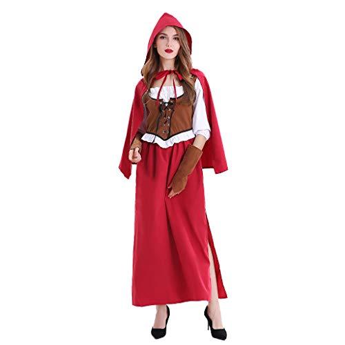 TWIFER Damen Halloween Kostüm Cosplay Rotkäppchen Kleid (a-Rot,M)