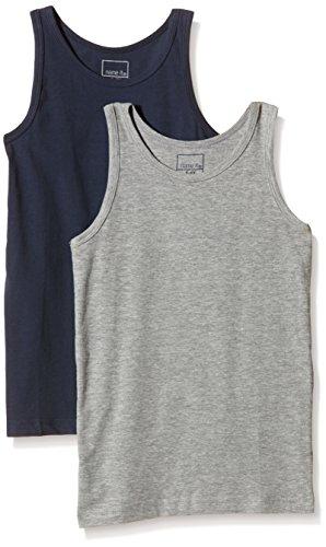 NAME IT Baby-Jungen NITTANK TOP K B NOOS Unterhemd, Mehrfarbig (Grey Melange), 128 (Herstellergröße: 122-128) (2er Pack)
