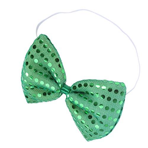 Amosfun St. Patricks Day Krawatte Irische Pailletten Fliege Kobold Kostüm Zubehör Nelke Bowties Grüne Irische Partei Liefert