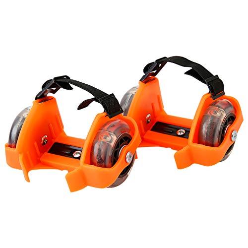 Mypace Verwandeln Sie Ihre Normalen Schuhe in Sekundenschnelle in Rollschuhe mit Diesen Blitzrollschuhen Kinder Leuchtende Dreifarbige Hot Wheels aus PVC Heelys Einstellbare Skating (Orange)