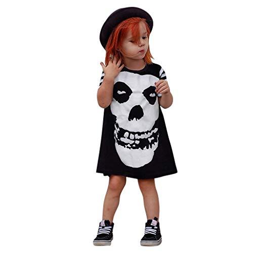 Riou Halloween Kostüm Kinder Baby Junge Mädchen Fasching Karneval Party Cospaly Costume Skelett Kostüm Bone Printed Prinzessin Kleid Overall Strample Babykleidung Outfits Set (100, Schwarz)