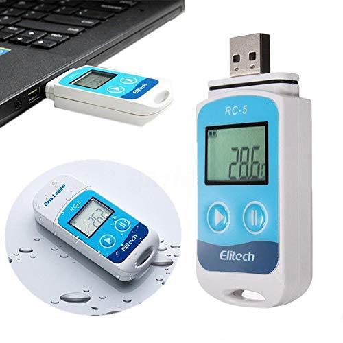 Rungao Rilevatore di Temperatura e Registratore Data Logger RC-5 Sensore Interno Misuratore 32000 Punti Impermeabile