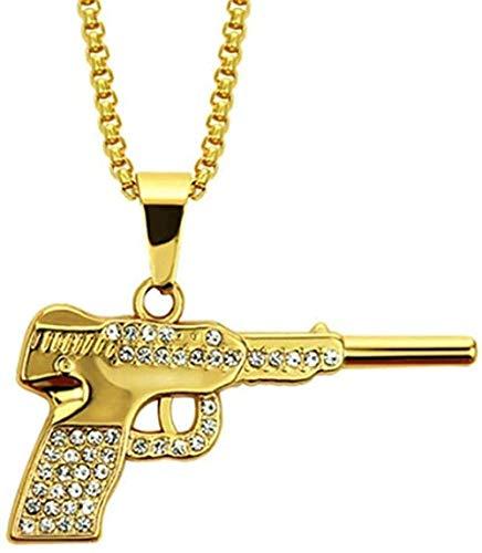 LBBYMX Co.,ltd Collar de Moda AK47 Revolver Uzi Gun Collares Pendientes Mujeres Hombres Joyería de Hip Hop Steampunk Bling Rhinestone Collar de Cadena Larga de Oro