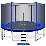 ORCC Trampoline 15 14 12 10ft Outdoor Trampoline Weight Capacity 450LBS for Kids Adults with Safety Enclosure Net Wind Stakes Rain Cover and T-Hook, Backyard Trampoline for Family (15ft)