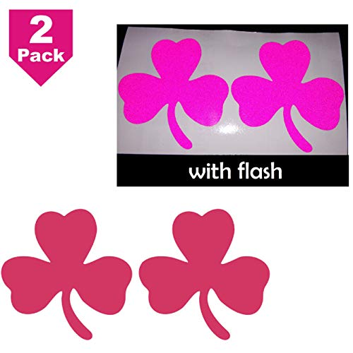 "2.5"" Deep Pink Clover 3-Leaf Shamrock Lucky Irish Flag Safety Reflective Decal Decals Vinyl Sticker High Visibility for Motorcycle Bike Bicycle Car Helmet Tailgate Mobile Phone Laptop Notebook Window"