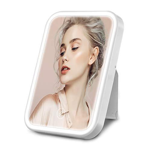 HOCOSY Espejo Maquillaje con Luz, Espejo tocador de Mesa con LED luz con 3 Modos Lluminacion, Espejo Cosmetico, Carga con USB o batteria, Pantalla Tactil, Adjustable