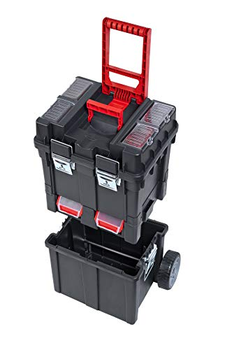 Compacte trolley Box gereedschapswagen met metalen sluitingen, kunststof wielen, metalen as, anatomische handgreep en opbergruimte voor het bewaren en organiseren van gereedschap, afmetingen: 495 x 360 x 710 mm