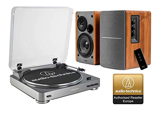 Audio-Technica AT-LP60X Turntable and Edifier R1280T Active Speaker Package Exclusive Set by Digitalis Audio (R1280T Speakers)