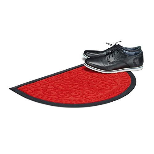Relaxdays Fußmatte Welcome & Goodbye, Schmutzfangmatte halbrund, Türmatte mit floralem Muster, Gummi, 40x60cm, rot