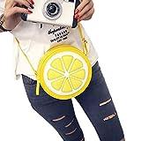 Mdsfe Aelicy Bolsos Bolsos para Mujer Bolso de Hombro Redondo de limón con Personalidad Bolsos Cruzados Bolso de Cuero PU Bolso de Mensajero para Mujer T11-BK, A1