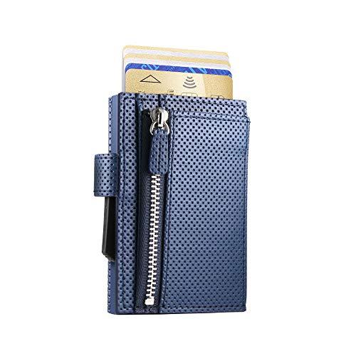 Ögon Smart Wallets - Cascade Wallet cierre con presión - Cartera automática de aluminio y piel con bolsillo para monedas - Tarjetero RFID - 8 tarjetas y billetes - Cuero Traforato Blue