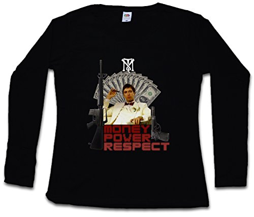Urban Backwoods Money Power Respect Tony Montana I Women T-Shirt Mujer Camiseta de Manga Larga Negro Talla 2XL